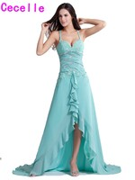 2017 Real High Low Turquoise Bridesmaids Dresses With Straps Beaded Lace Appliques Short Front Long Back Sexy Bridesmaid Robes