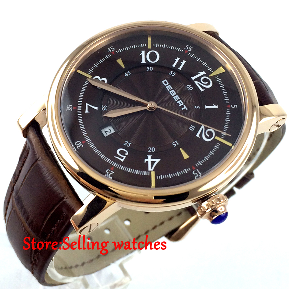 43mm debert coffee dial rose golden case 21 jewels miyota Automatic mens Watch 36mm debert golden dial 21 jewels miyota automatic diamond mens watch d11