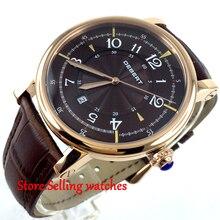 43mm debert dial café rose caja de oro 21 joyas miyota Reloj Automático para hombre