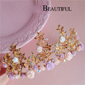 HG312 bride hair jewelry retro Baroque hair accessories pink flower wedding crowns gold stars tiaras vintage crown headbands