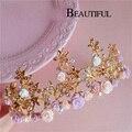 Hg312 pelo de la novia de la joyería retro barroco accesorios para el cabello de flores de color rosa boda coronas estrellas dorado tiaras de la corona del vintage de las vendas