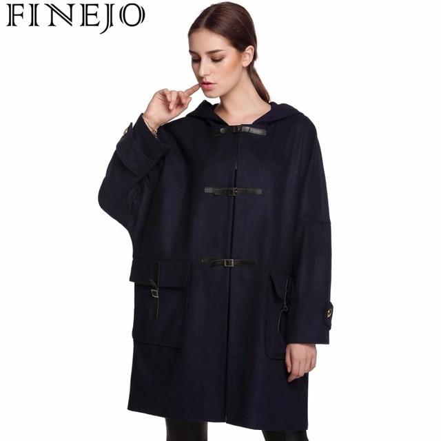 94e8ac2743 Finejo Women Long Coat Single Breasted Elegant Woolen Coat Casual Buckle  Pockets Outwear 3XL Plus Size Thicken Long Overcoats-in Wool & Blends from  ...