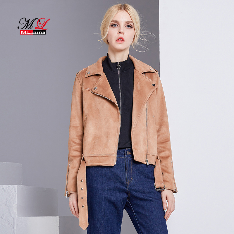 MLinina 2019 New Preppy Style Women Jacket Faux Soft   Suede     Leather   Jackets Lady Slim Cute Matte Coat Outerwear Zipper Moto Coat