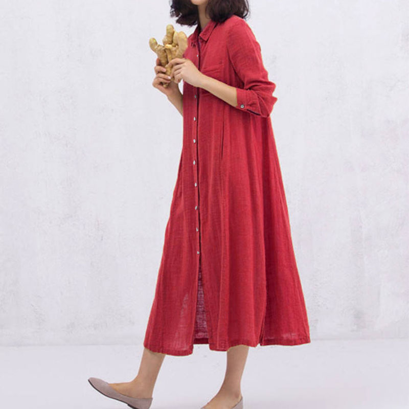 2018 ZANZEA Women Lapel Neck Long Sleeve Solid Buttons Loose Casual Split Hem Cotton Linen Vestido Long Shirt Dress Plus Size