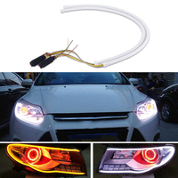 2Pcs Car Styling 60cm Flexible LED Tube Strip Light Turn Signal DRL White Amber Decorative Lamp