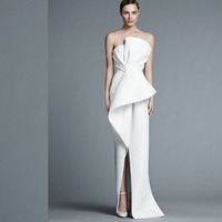 Simple Evening Dress White Customize High Split Strapless Neck Evening Gowns