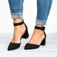 2019 nowe buty sandały damskie obcasy blokowe pasek na kostkę moda sandały gladiatorki damskie buty na wysokim obcasie sandały damskie Plus rozmiar 43 tanie tanio Dla dorosłych Flock Niska (1 cm-3 cm) Gumowe Pokrywa heel Pasek klamra Otwarta Plac heel C NEW S Na co dzień Platforma