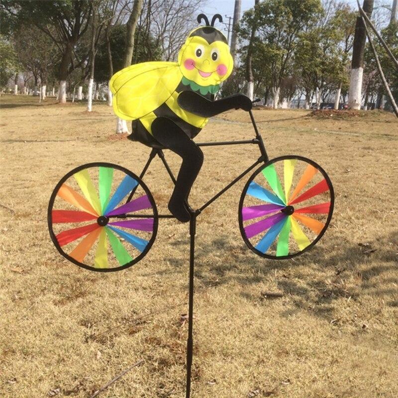 HBB Cute 3D Bee on Bike Windmill Whirligig Garden Lawn Yard Decor Wind Spinner