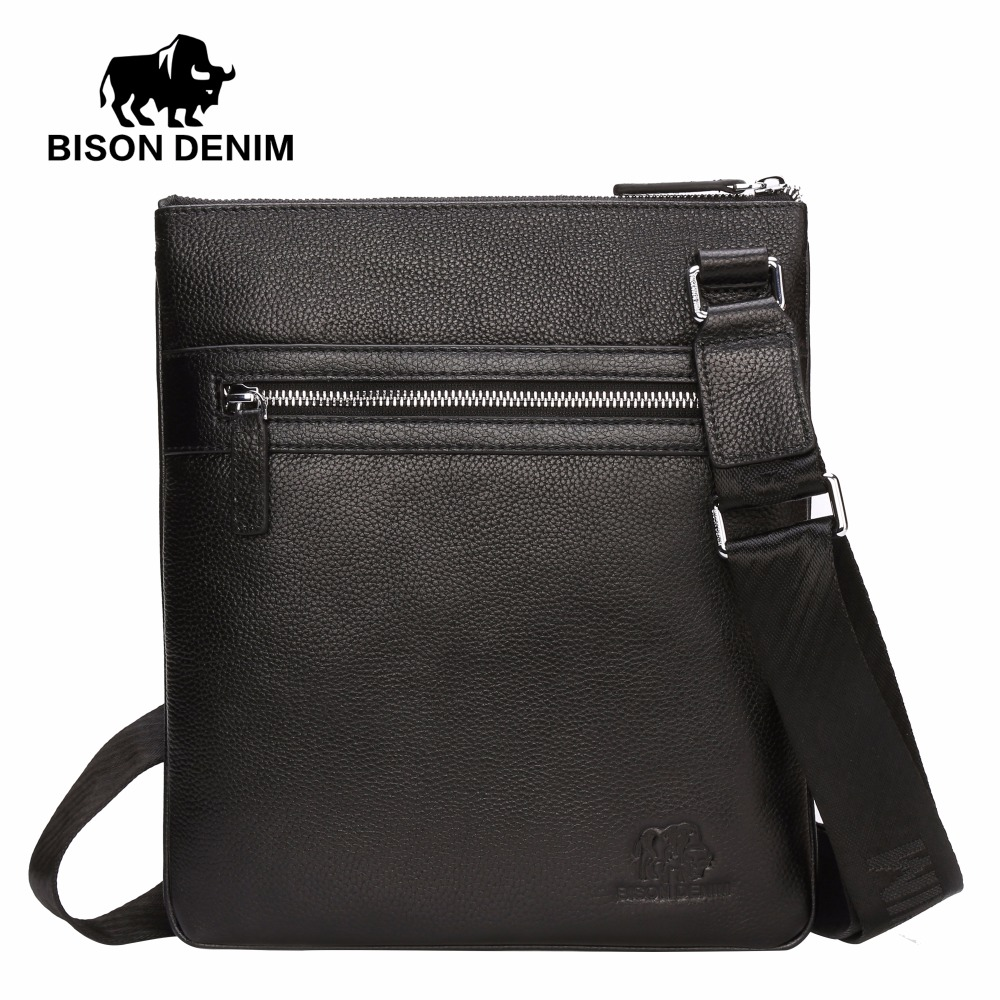 BISON DENIM Men's Shoulder Bag Genuine Leather Satchel iPad Tablet Messenger Bag black thin soft casual male bag N2424-1B casual canvas satchel men sling bag