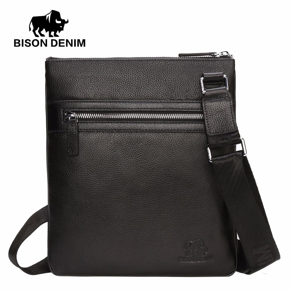 Bison Denim Mens Genuine Leather Slim Messenger Bag Handly Shoulder Bag High Qulity Cowhide