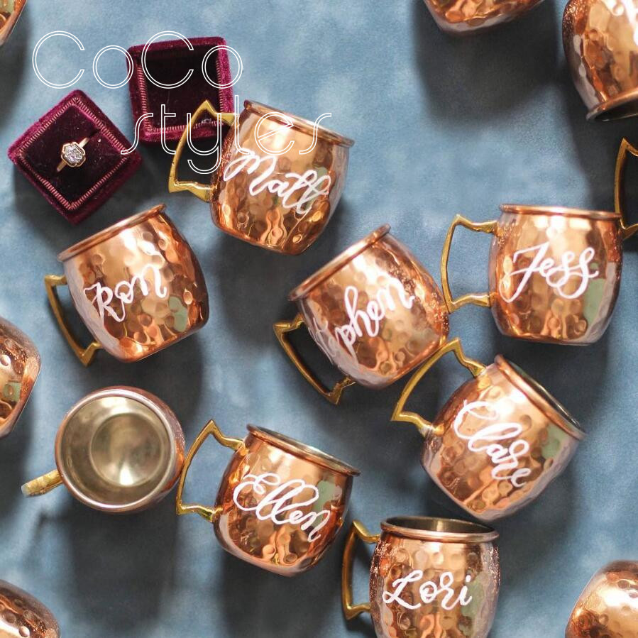 Cocostyles custom creative rose gold moscow mule cup or place card for wedding party event welcome gifts or christmas gift set image