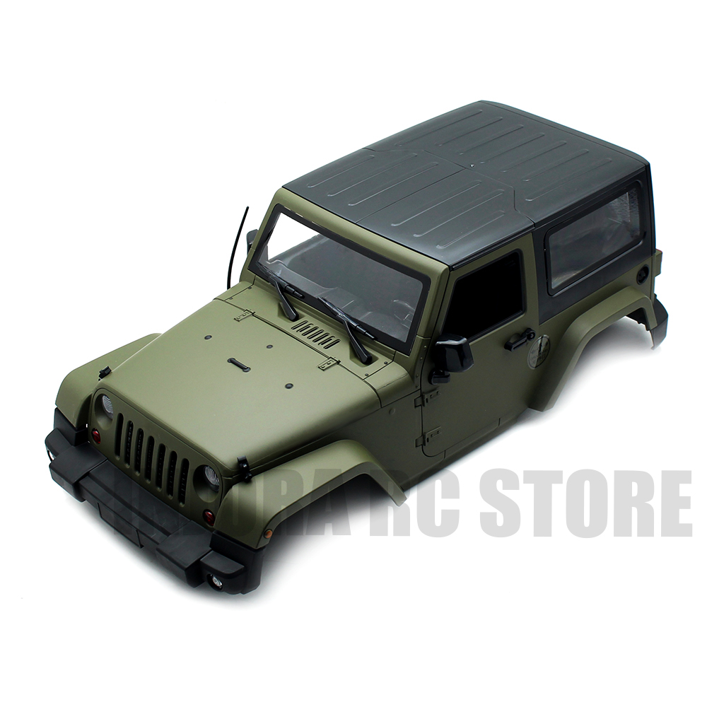 INJORA 270mm Wheelbase Olive Green Hard Plastic Body Shell For Axial SCX10 D90 Jeep Wrangler Body