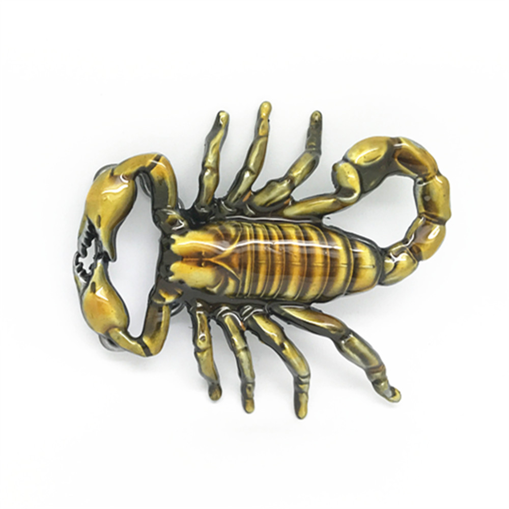 Belt Accessories Color Yellow 3D Scorpion Metal Belt Buckle For Belt 4cm
