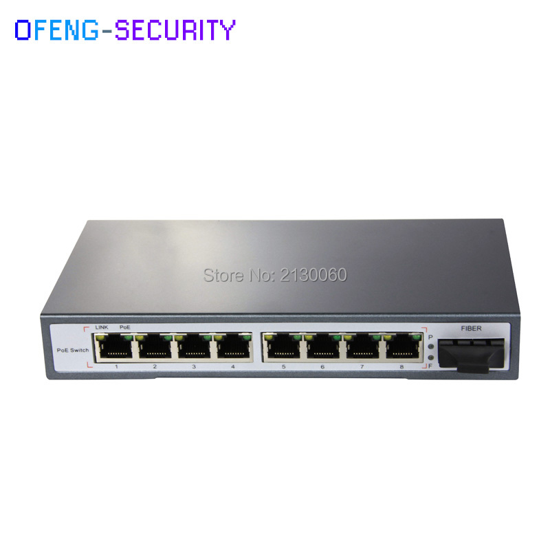 POE Switch 9-Port 10/100M, 4 POE+4E Ports+1Fiber, Single-mode dual fiber, SC, IEEE 802.3af, PoE Power Output 15.4W,PoE Budge 65W