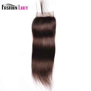 Image 2 - Fashion Lady Pre Colored Brazilian Hair Closure Straight Hair Lace Closure 4x4 inches #2 Brown Human Hair Lace Closures Non Remy