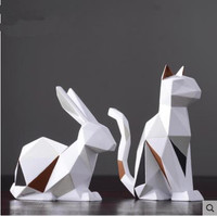 Creative geometric rabbit crafts, European and American style art, home desktop office decorations, birthday gifts