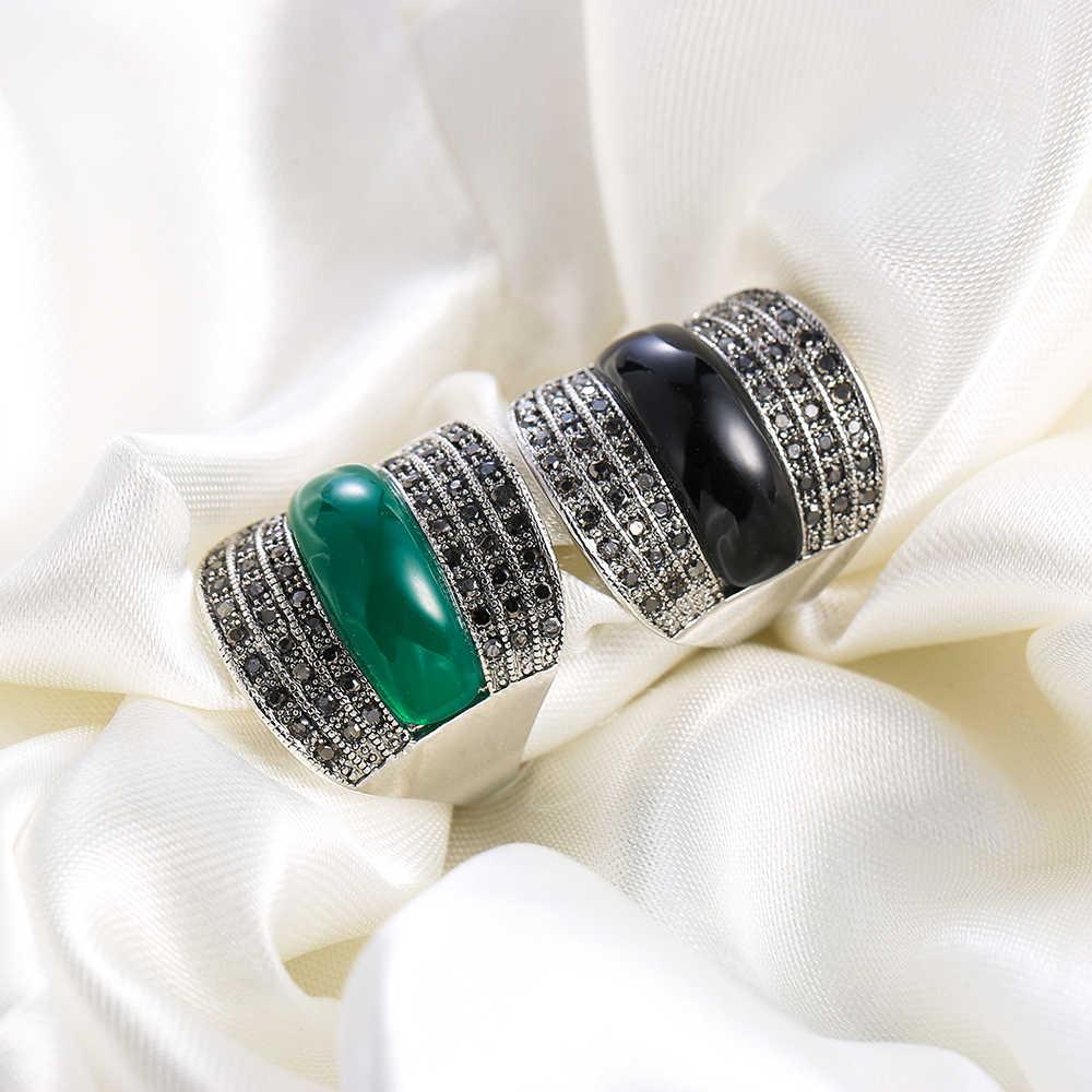 Ajojeel เครื่องประดับสีเขียว/สีดำ/สีแดงหินเรขาคณิต Vintage แหวนสีดำ Rhinestones Bijoux