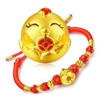 חדש 3D זהב צהוב טהור זהב טהור מחרוזת צמיד מארג אדום עוף גלגל המזלות 1.8-2 גרם חמה למכירה
