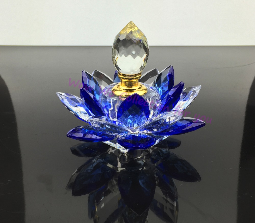 Free Shipping Refillable Crystal Glass Lotus Flower Perfume Bottle