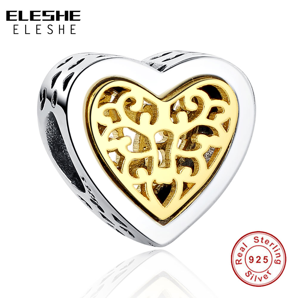 ELESHE Luxury Brand 100% 925 Sterling Silver Heart Charms Bead Fit Original Bracelet Necklace Pendant Authentic Jewelry Making