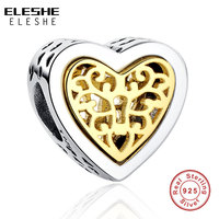 Luxury Brand 100 925 Sterling Silver Heart Charms Beads Fit Original Bracelet Necklace Pendant Authentic Jewelry