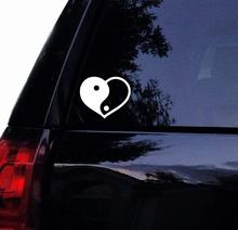 Tshirt Rocket Yin and Yang Heart Decal - Vinyl Car Window Sticker (12)