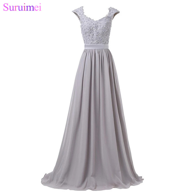 Silver Gray Evening Dresses Chiffon Cap Sleeves Lace Applique Purple ...