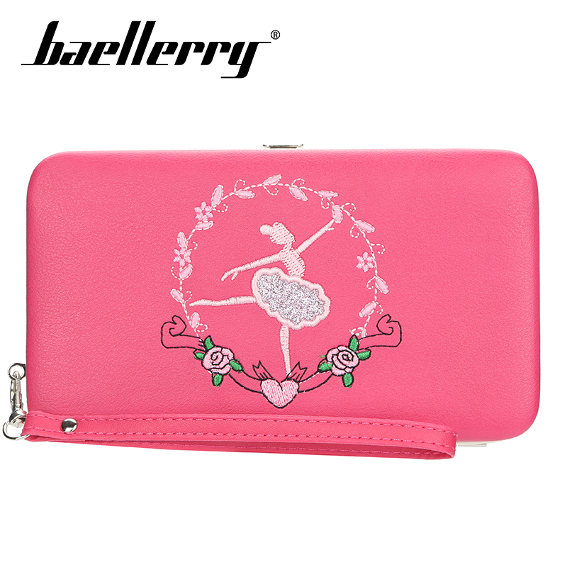 Baellerry Pink Dancing Girl Embroidered Long Wallet Zipper PU Leather Coin Pocket Card Holder Photo Casual