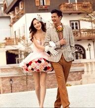 Vestido de noiva Ballkleid Kurz Cocktailkleid Sexy 3D Blumen Schatz Homecoming Kleider Partykleider Für Sommer Kleid