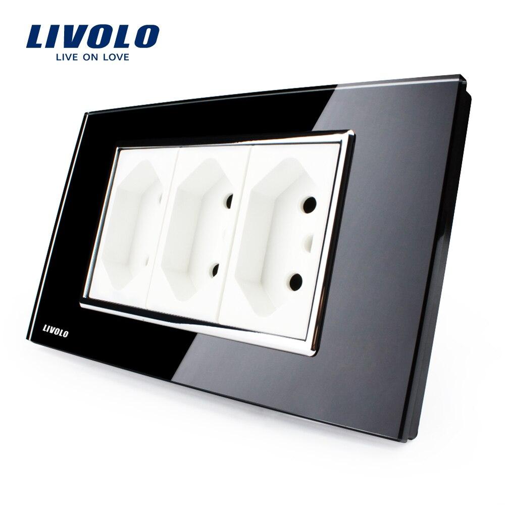 Livolo 3 Pins Socket, Black Tempered Glass, 10A, AC 250V, Wall Powerpoints ,VL-C3C3BIT-82,,Brazilian/Italian Standard livolo us standard 2 pins socket white crystal glass 10a ac 125 230v wall powerpoints with plug vl c3c3a 81