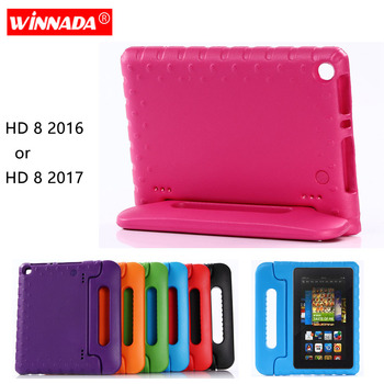 For Amazon Kindle Fire HD 8 2017 Case Kids Tablet Protecter Shell shockproof EVA Hand-held Stand Cover for Kindle Fire HD8 2016 for fire7 2019 armor case 7 0 inch tablet hand held strap silicone tpu pc shockproof stand cover case for amazon kindle fire 7 2019