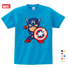 Fashion Captain America Distressed Shield Logo Cotton T-Shirts Boy Girls Printing T-shirt 3T-9T Gifts for Childrens Birthday
