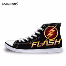 INSTANTARTS 2017 Fashion Men's High Top Canvas Shoes Cool 3D Super Hero The Flash Man Lace-up Vulcanize Shoes Male Comfort Flats