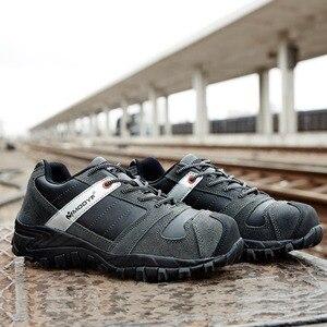 Image 5 - Moda masculina de aço toe sapatos de segurança de trabalho botas de segurança industrial calçado de proteção sapatos casuais