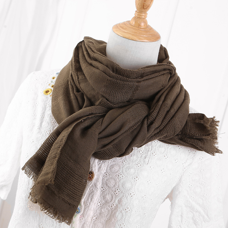 Image 4 - Solid Color Scarf Cotton Linen Ethic Hollow Cut Scarf Fringes  Large Wraps Stoles Muslim Hijabs Scarves Islam Wrap HijabWomens  Scarves