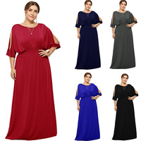 2019 Hot Plus Size Batwing Sleeves Elastic Evening Party Dress Vestido Robe de Soiree Wedding Guest Dress eDressU LMT FP3110