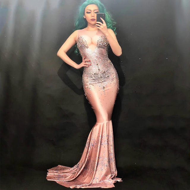 Sexy Fashion Sparkly Big Crystals Dress Long Train Women Birthday Costume Prom Celebrate Nude Big Tail Dresses Evening Outfit
