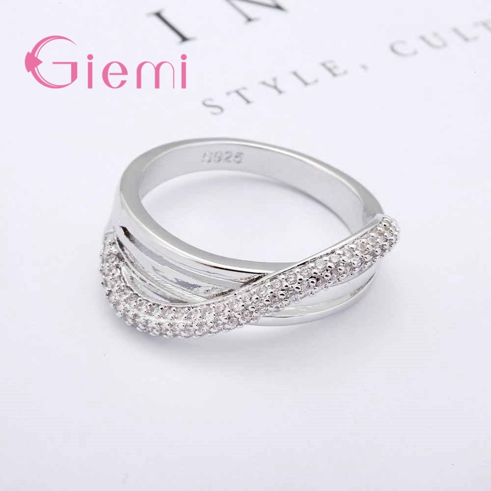 Giemi Charming Finger Jewelry Accessories Shiny Cross Crystal Rings for Women Top Quality 925 Sterling Silver Statement Jewelry
