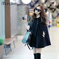 2017 New Spring Women Trench Coats Autumn Fashion Female Black Cloak Loose Sleeveless O Neck Women Coat Bat Sleeved Outwear