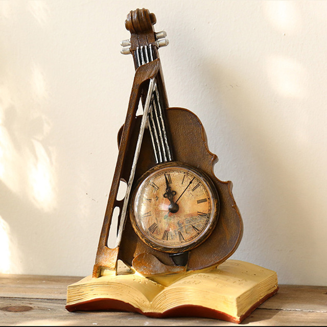 Europe Home Decoration Accessories Vintage Clock Violin Globe With Saving  Box Decorative Figurines Antiques For Home Decor