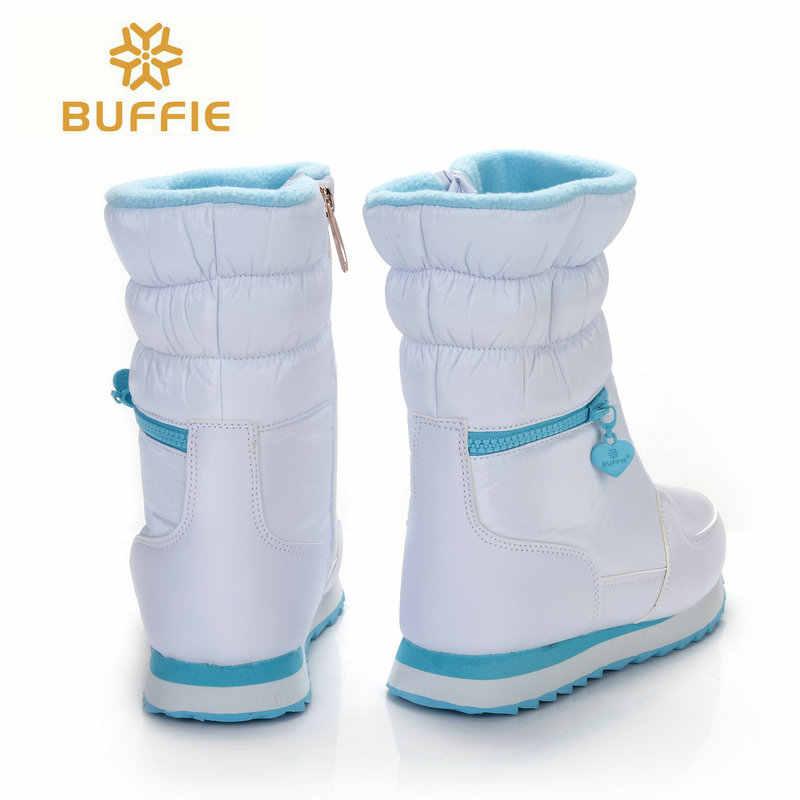 חורף מגפי נשים נעליים חמות שלג אתחול 30% טבעי צמר הנעלה לבן צבע BUFFIE 2019 גדול גודל רוכסן אמצע עגל משלוח חינם