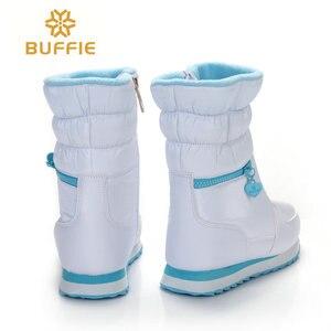 Image 2 - Kışlık botlar kadın sıcak kar botu ayakkabı % 30% doğal yün ayakkabı beyaz renk BUFFIE 2020 büyük boy fermuar orta buzağı ücretsiz kargo