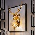 Золотая настенная лампа с оленем anlter для гостиной  спальни  кухни  отеля  скандинавский настенный светильник для домашнего декора  светодио...