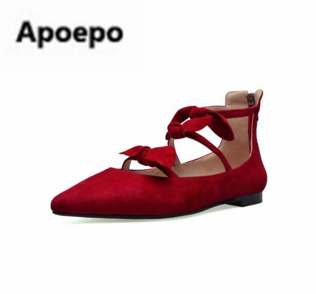 Apoepo Brand mary janes shoes pointed toe butterfly-knot decor flats shoes women red pink sweet Single shoes for girls newest apoepo brand mary janes shoes pointed toe butterfly knot decor flats shoes women red pink sweet single shoes for girls newest