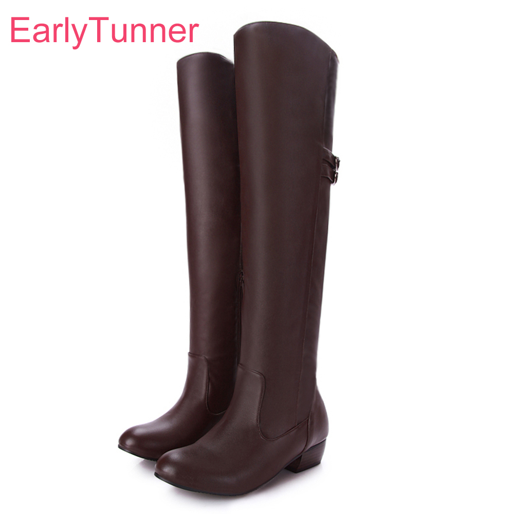 Brand New Sales Black Brown Women Thigh High Slouch Boots Fashion Lady Over the Knee Shoes Low Heel EH106 Plus Big size 43 10 стоимость