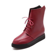 Size 34-43 2016 new fashion women boots female spring/autumn women's ankle boots vintage slip-on flat heel motorcycle boots