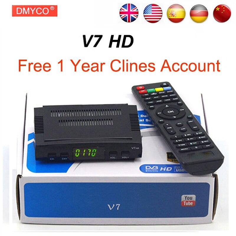 DMYCO Satellitenfernsehen-empfänger decoder V7 HD DVB-S2 lnb mit 7 linien Europa portugal Spanien C-linie konto unterstützung powervu Rezeptor