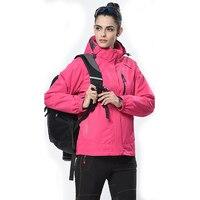 Для женщин Пеший Туризм Куртка 3 в 1 открытый ветровка зимняя женская теплое пальто Polar Подкладка из флиса 2 шт. 2 в 1 походы кемпинг куртка