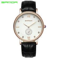2017 SANDA Top Luxury Brand Watches Mens Quartz Business Fashion Casual Watch Women Lover Couple Waterproof Leather Wristwatches