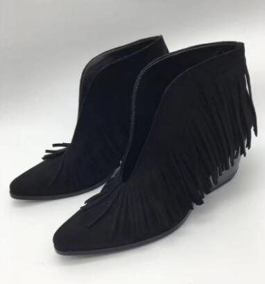 Rousmery The Latest 2017 Fashion Front V Slip-on Woman Ankle Boots Sexy Pointed Toe Fringe Girls Short Boots Chunky Heels Shoes